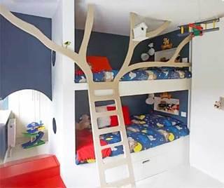 儿童卧室高低床设计平面图