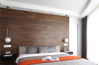 200平简约大户型装修卧室木质床头
