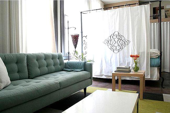 客厅卧室布帘隔断设计
