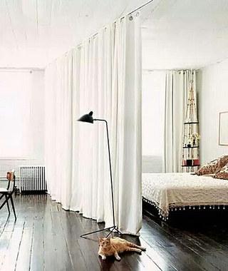 客厅卧室布帘隔断图片设计