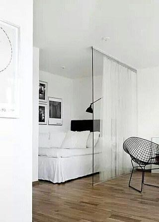 小户型客厅卧室布帘隔断