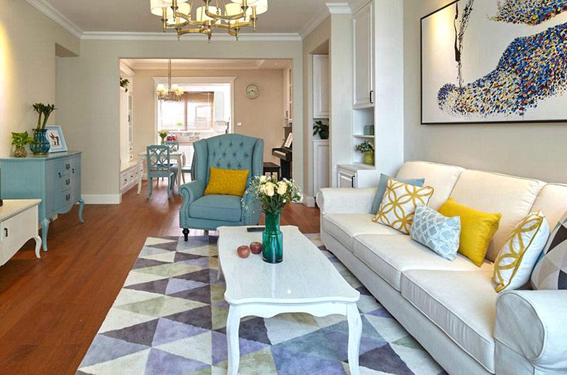 140平美式风格二居茶几地毯效果图