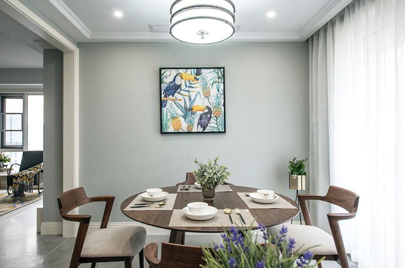 135平混搭风格公寓圆形餐桌图片