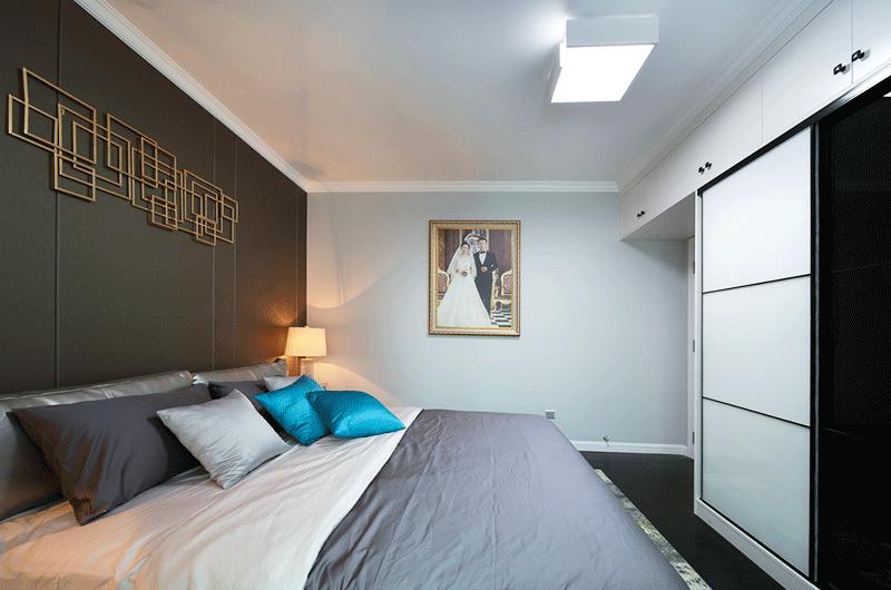 90平简约风格婚房装修卧室床品