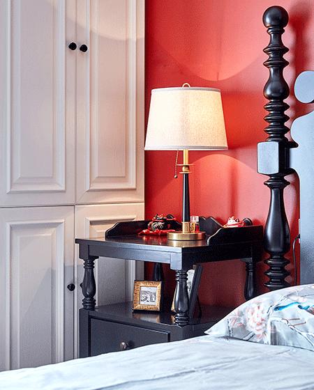 130平美式风格公寓台灯效果图