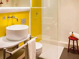10个清新黄色卫生间装修效果图 为家添活力