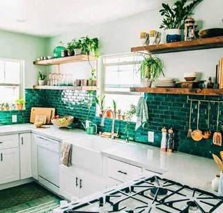 室内厨房绿植布置摆放图