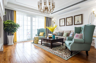135平美式风格四居布艺沙发图片