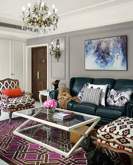 美式风格婚房装修茶几地毯图片