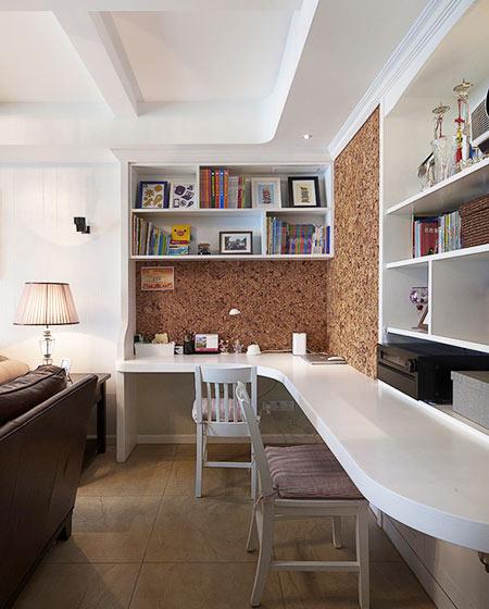 开放式书房装修软木背景墙