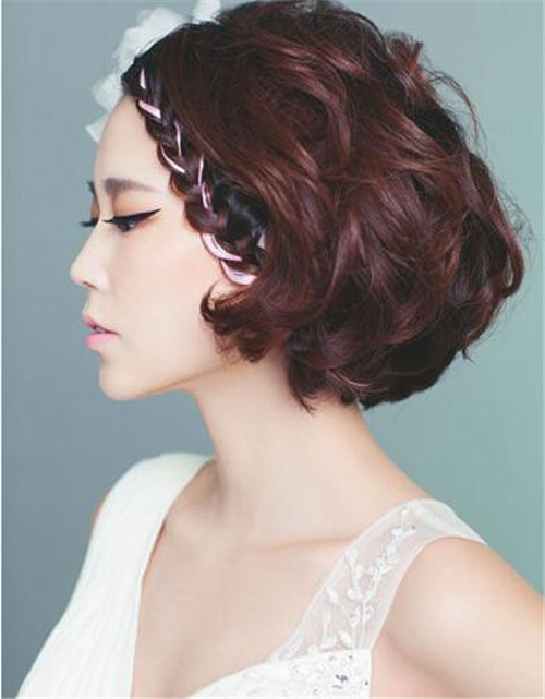 短发韩式新娘发型图片