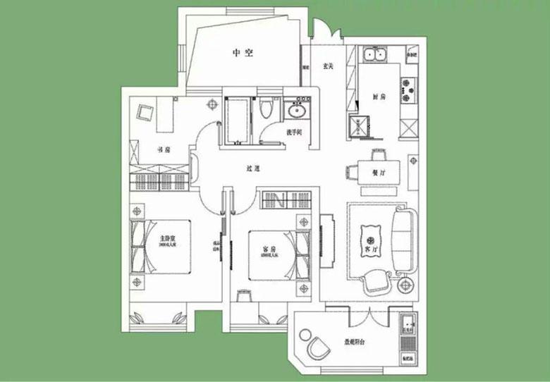 150㎡美式三居室平面图