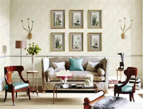 墻布作為電視墻的裝飾材料,做舊底紋,溫暖的色澤,搭配上白色的家具和