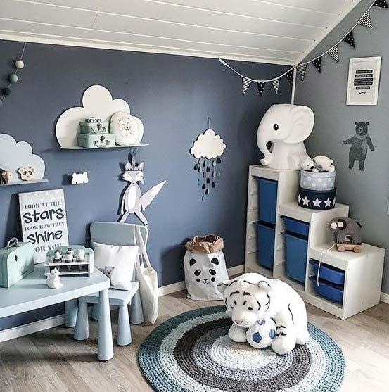 蓝色儿童房设计参考图