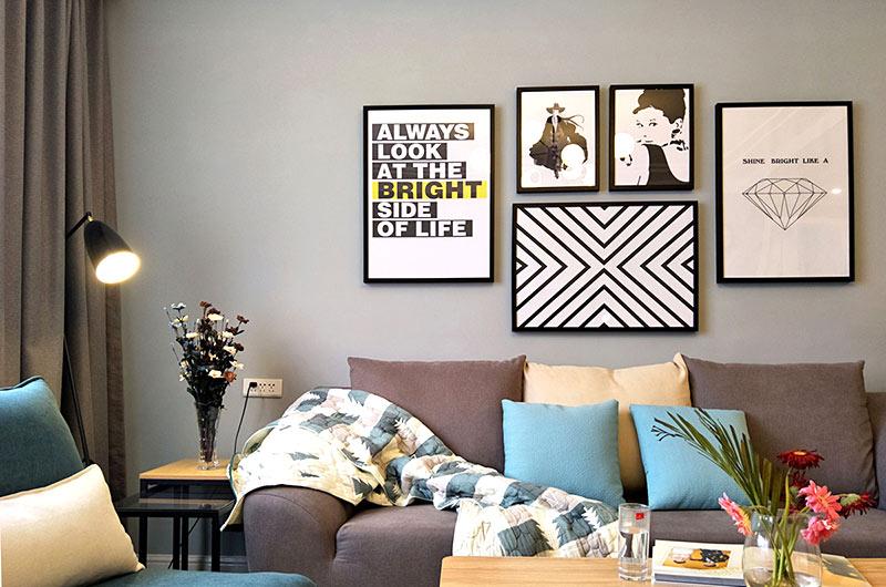 130平北欧风格婚房装修沙发背景墙