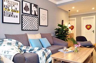 130平北欧风格婚房布艺沙发图片