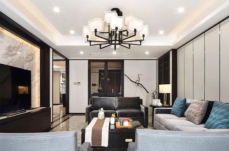 320平新中式风格别墅天花吊顶装修图