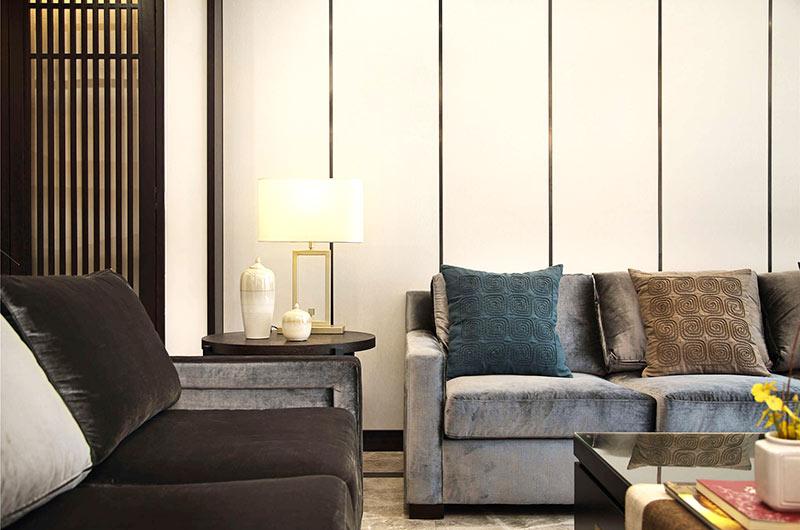 320平新中式风格别墅沙发背景墙设计