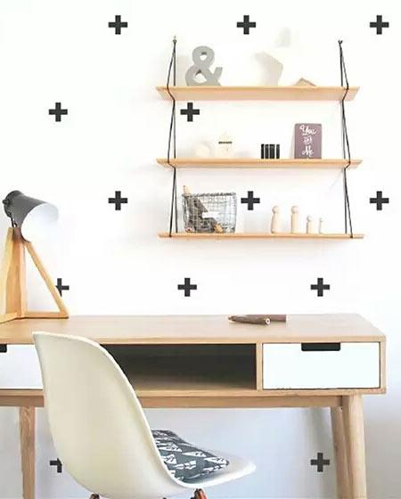 北欧风格书房背景墙壁纸图片