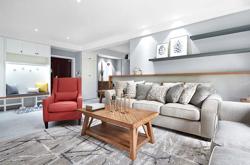 165平混搭风格公寓茶几地毯设计