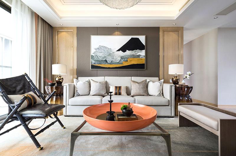 125平中式风格样板房客厅效果图