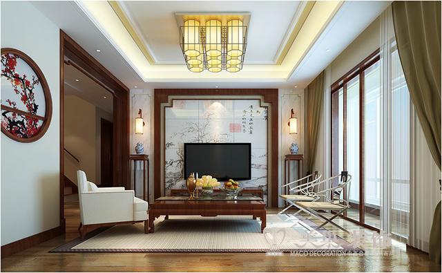 鑫苑世家案例290平复式新中式装修效果图——客厅电视背景墙图片