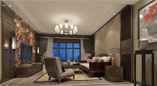 中式电视背景墙装修效果图 中式客厅电视墙装修设计案例