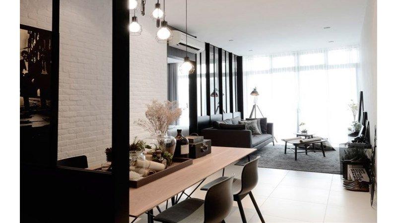 80平米欧式二居室装修效果图,黑白调的北欧风情装修图