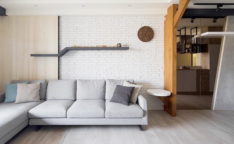 70平两居室北欧风格装修效果图沙发背景墙设计