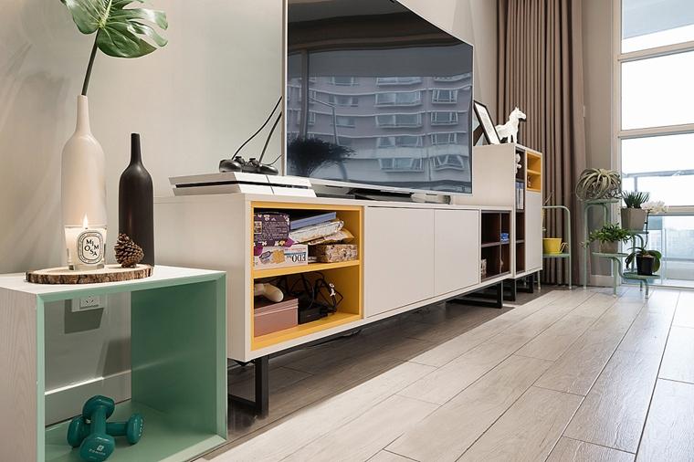 140平简约风格三居室装修电视柜图片
