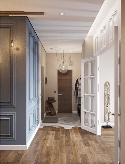 130平美式混搭四居室装修玄关设计图