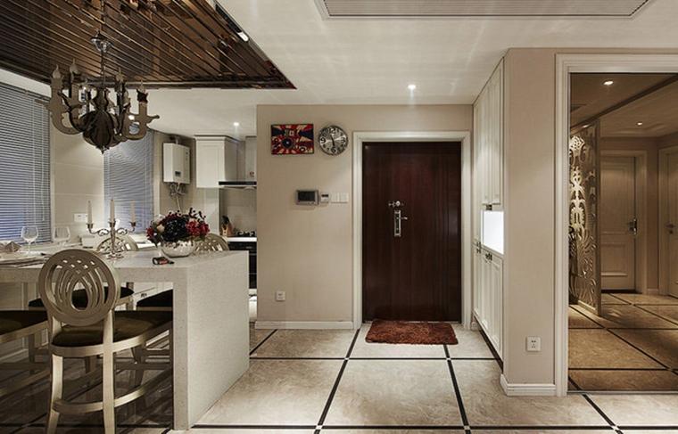 90平混搭风格两居室装修吧台设计图