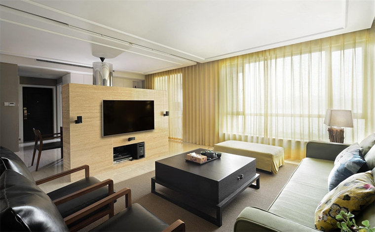 简约风格大户型装修客厅窗帘效果图