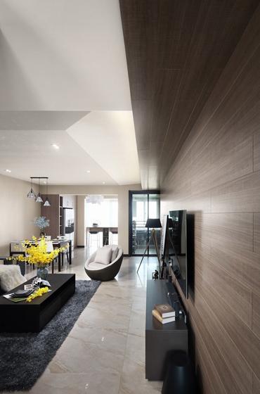 140平现代混搭风格装修电视背景墙图片