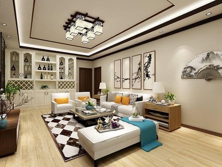 电视墙采用重视窗格雕花中间采用石材装饰,顶面采用木线条装饰走线
