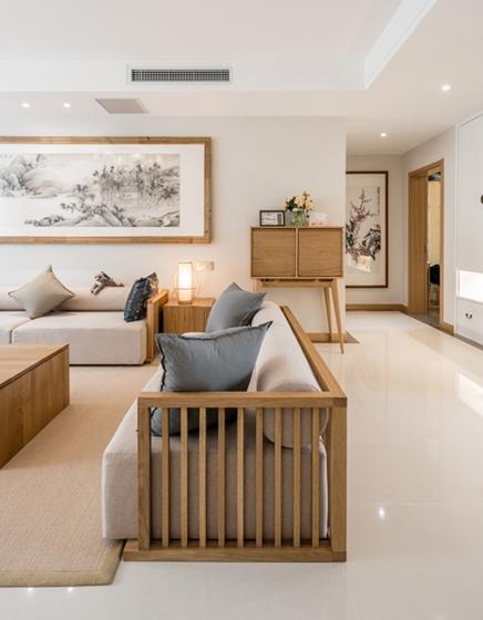 三室两厅大户型装修客厅实木沙发图片
