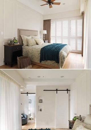 120平美式风格装修卧室窗帘图片