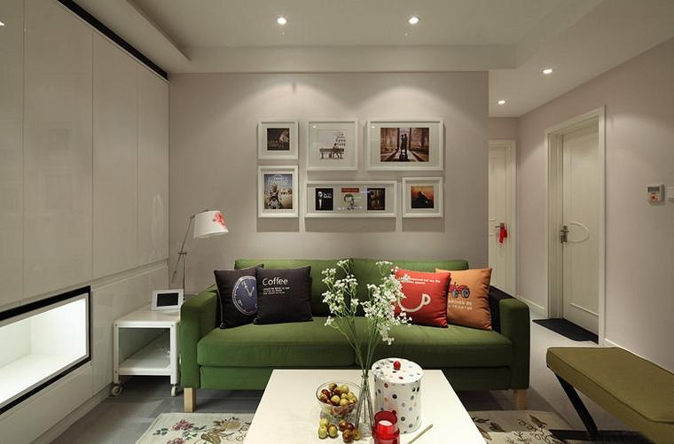 宜家风格两居室装修客厅布艺沙发图片