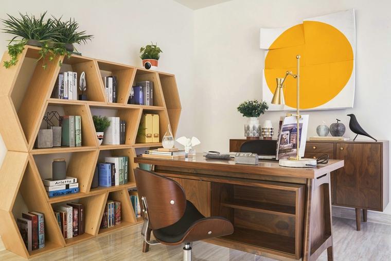 300平别墅样板间装修书房效果图