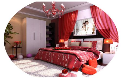 婚房卧室设计效果图:古典传统婚房布置图片