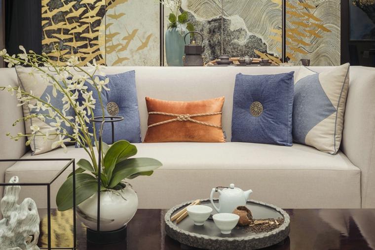 110平新中式风格三居室布艺沙发图片