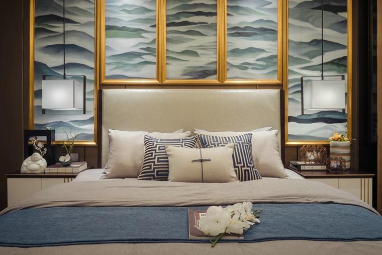 110平新中式风格三居室卧室壁灯图片