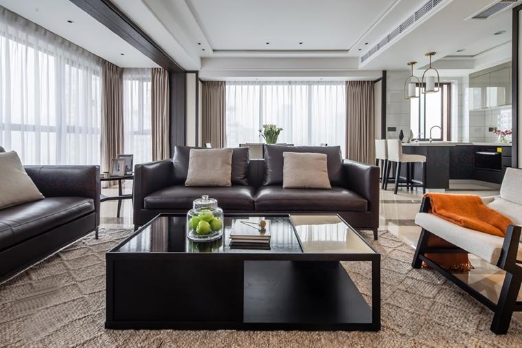 170平大平层装修效果图客厅真皮沙发图片