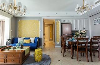 90平混搭风格两居室装修效果图客厅效果图