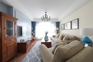 110平美式风格三居室客厅效果图
