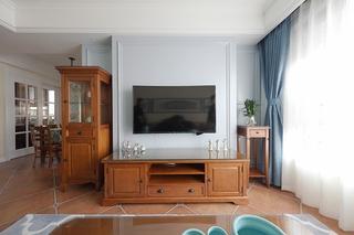 110平美式风格三居室客厅电视背景墙