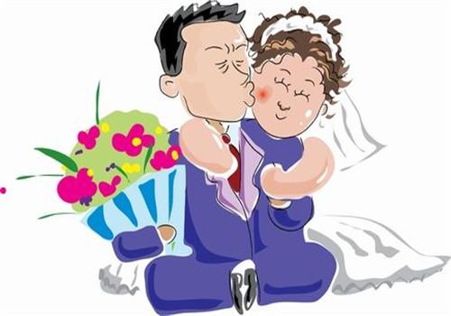 新郎新娘相依偎简笔画
