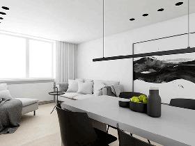 70㎡黑白小户型装修公寓图片  无颜色也有趣味