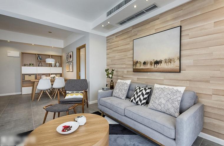 70平米简约风格装修客厅布艺沙发图片