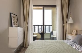 70平米简约风格装修卧室窗帘图片